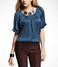 RUFFLED RAGLAN SLEEVE PLEATED BLOUSE-The top is distraction free for work and more important-CHIC! Just add a few accessories and you are ready for your after work cocktail!