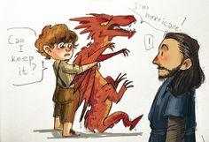 Baby Bilbo, Smaug and Thorin ;)