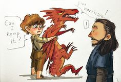 Baby Bilbo, Smaug and Thorin ;)