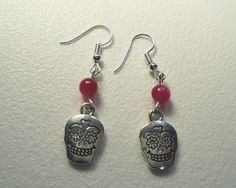 Sugar Skull Earrings, Sugar Skull, Silver tone, Goth, Red Bead Accent…