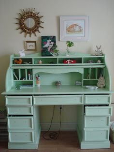We have a roll-top desk that's in rough shape -- maybe I could paint it a fun color...
