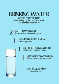 We all know that hydration is key for good health, but timing your consumption of water can be equally as important. Numerous scientific studies have shown that drinking water at certain times of the day can optimize the health benefits. So what's the correct time for drinking water and its benefits? Here's how to drink water at the correct time to maximizes its effectiveness on your Body: Drink two glasses of water after waking up – helps activate internal organs. Drink one glass of water…