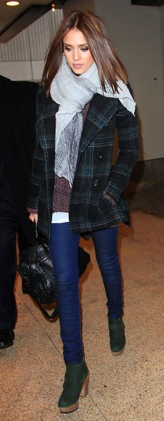 chunky scarf, patterned coat, skinny jeans and green boots for added effect. In love with this entire outfit