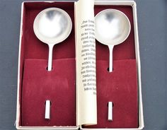 Vintage Zinn / Pewter German Schnapps Shot Spoons by IngliVintage Vintage Cutlery, Schnapps, Small Businesses, Spoons, Gin, Pewter, German, Deco, Tableware