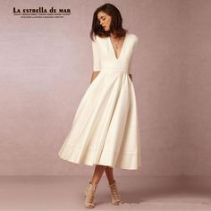 Cheap dress tag, Buy Quality dress oscar directly from China dress summer Suppliers: Robe cocktail2017 new V-neck 3/4 Sleeve Bow Satin fluffy Tea-Length ivory white cocktail dresses short ever pretty dress