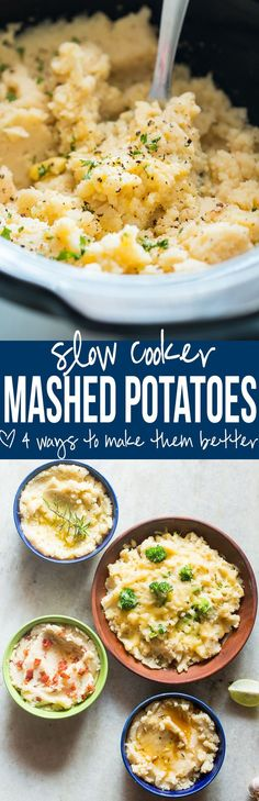The best slow cooker mashed potatoes + 4 flavours (broccoli & cheddar, bacon, brown butter & garlic, rosemary & lemon) for thanksgiving & christmas side dish.