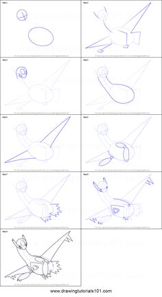 How to Draw Latios from Pokemon printable step by step drawing sheet : DrawingTutorials101.com