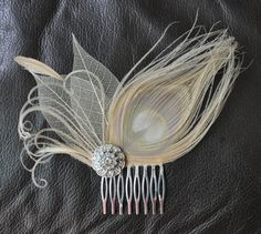 Hair Accessory,bridal comb, wedding  comb ,bridal head piece,wedding hair piece,Ivory-champagne peacock Feathers. $49.00, via Etsy.