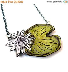SALE 25% OFF Lily Pad Necklace  Come Float in by blockpartypress