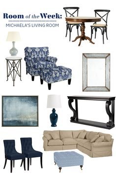 Decorating a family room with navy blue accents, like an ikat chair, upholstered ottoman, and abstract painting.