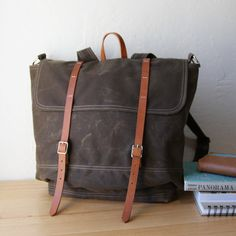 Waxed+Canvas+Backpack+//+Rucksack+//+Leather+Straps+//+by+infusion,+$198.00