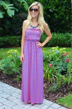 Neon & Blue Striped Maxi Dress