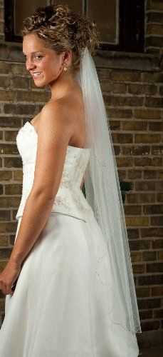 Fingertip length Wedding Veil with Scalloped Beaded Edge 45 Silver bugle bead edge with rhinestone and crystal accents.  #TheLittleWhiteDress #Apparel