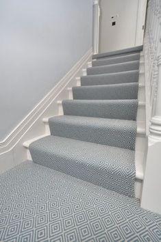 Carpet runner on stairs, staircase runner, hallway carpet runners, carpet. Carpet Diy, Blue Carpet, Carpet Colors, Cheap Carpet, Carpet Ideas, Carpet Decor, Carpet Types, Sisal Carpet, White Carpet