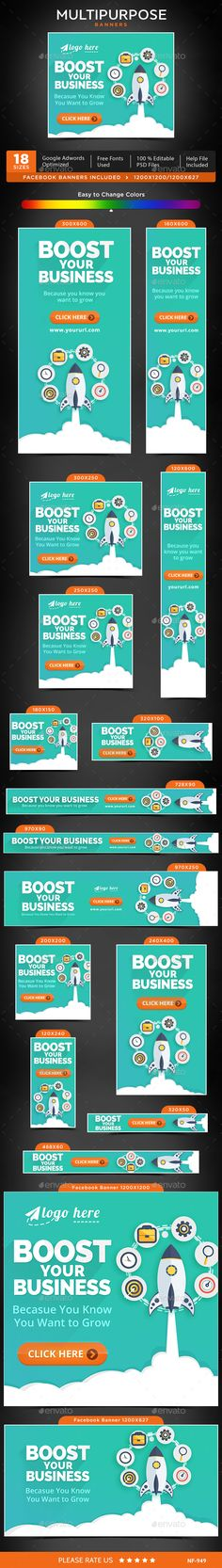 Multipurpose Web Banners Template PSD #ad #promotion #design Download: http://graphicriver.net/item/multipurpose-banners/14276090?ref=ksioks