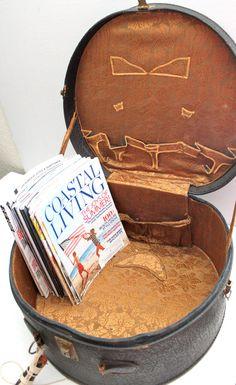 antique black leather large round suitcase // hat by RedTuTuRetro, $65.00