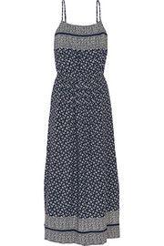 Pintucked printed silk-crepe maxi dress