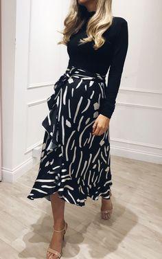 c2e1cf09f3 Exclusive Lulu Wrap Midi Skirt In Black And White Print By Pretty Lavish