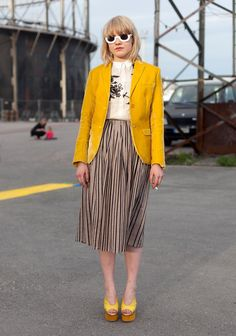 acid yellow jacket with striped midi skirt & print button down