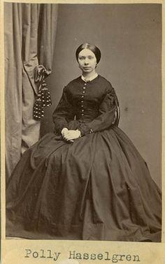 """Polly Hasselgren"", Swedish,1860's. Bohusläns Museum, nr. UMFA53226:0613"