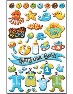 CUTIE PIE BOY EPOXY STICKERS scrapbooking 99 CENT SALE!