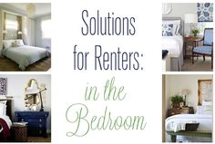 Decor and storage solutions for renters in the bedroom - some great ideas for home owners too!