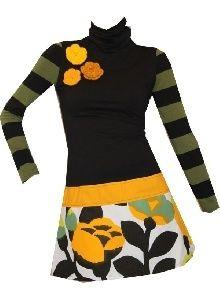 Looks like a mash-up of a mini skirt, long socks and a sleeveless top