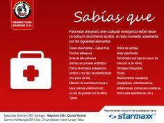 Viaja preparado para cualquier emergencia! Lleva un botiquín en tu vehículo en todo momento.  #Sancar #Starmaxx #Neumáticos #Talca #QuintaNormal #Santiago