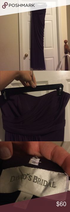 David's Bridal strapless plum dress, 4 David's Bridal strapless plum dress with side draping and side zipper. Worn once for wedding. Size 4 David's Bridal Dresses Strapless