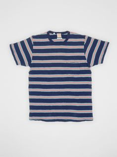 be20a0aa87e3f 1960s Striped T-shirt Medieval Blue