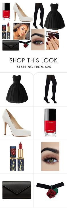 """""""Untitled #33"""" by aurora-agrest ❤ liked on Polyvore featuring Wolford, Jessica Simpson, Chanel and Balenciaga"""