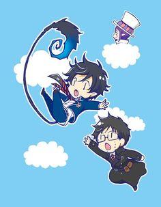 Blue Exorcist (Ao no Exorcist) - Rin Okumura x Yukio Okumura Ao No Exorcist, Blue Exorcist Anime, Anime Chibi, Manga Anime, Anime Art, Rin Okumura, Mephisto, Oc Fanfiction, Desu Desu