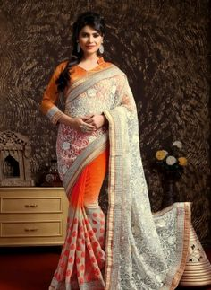 Cream & Orange exclusive party wear half saree in net jacquard