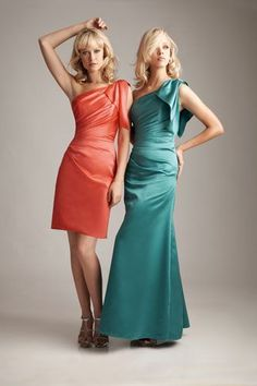 We love how this dress is available in short and long.  Perfect for maid-of-honor and bridesmaid!  Create by the designer Allure.  This dress comes in about 50 different colors!  Allure bridesmaid dresses http://www.magicmomentscollections.com/category/Allure_Bridesmaid_Dresses/c219
