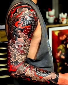 Search inspiration for a Japanese tattoo.You can find irezumi tattoos and more on our website.Search inspiration for a Japanese tattoo. Samurai Tattoo Sleeve, Dragon Sleeve Tattoos, Best Sleeve Tattoos, Irezumi Sleeve, Hand Tattoos, Koi Dragon Tattoo, Colorful Sleeve Tattoos, Letter Tattoos, Armor Tattoo