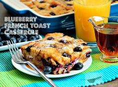 Blueberry French Toast Casserole made with Hawaiian Sweet Rolls