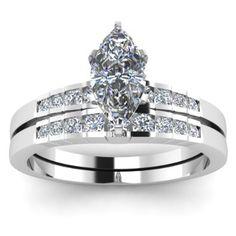 Best Setting for Marquise Diamond | Marquise Cut Diamond Engagement Ring Wedding Set
