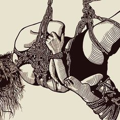 A pose provided by @ame_kitsune from a few months back.  #art #rope #tie #tied #shibari #kinbaku #shibariart #bondageArt #fetishArt #sketch #line #lineArt #draw #drawing #illustrate #illustration #blackandwhite #knot #bound #fit #yoga #pose #suspension