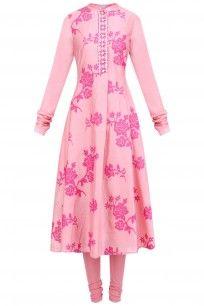 Pink Tonal Embroidered Mardives Kurta Set  #florals #pinks #umbar #payalpratab…