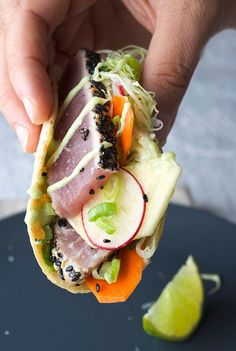 Black Sesame Seared Ahi Tuna Tacos.