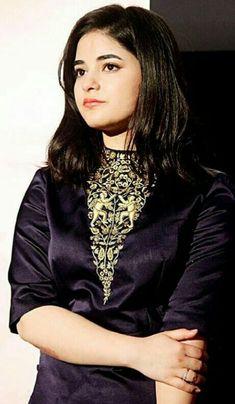 Zaira in black. Bollywood Girls, Bollywood Fashion, Zaira Wasim, Yellow Floral Dress, Srinagar, Celebs, Celebrities, My Crush, Indian Dresses