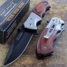 Combat Pocket Knife Pakkawood Overlay Handle Tac Force Spring Assisted NEW K14 #TacForce