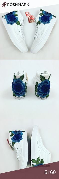 Custom blue rose vans, unisex shoes, custom vans Unisex shoe  all sizes available. Patch work is clean and done by professionals with many years of experience. Patches won't fall off or decay overtime.  100% Authentic and brand new with tags. Vans Shoes Sneakers