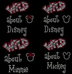 rhinestone stud transfer applique hotfix iron on WILD ABOUT Mickey Minnie Mouse