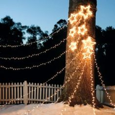 Looking for inspiration for outdoor Christmas decorations? Here is our recommendation on DIY outdoor Christmas Decorations you can copy. Star Christmas Lights, Christmas Lights Outside, Hanging Christmas Lights, Decorating With Christmas Lights, Christmas Yard, Noel Christmas, Outdoor Christmas Decorations, Holiday Lights, Light Decorations