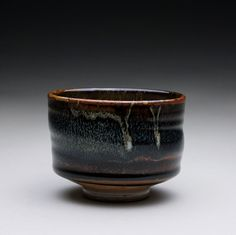 cup  teacup  tea bowl with black brown tenmoku by rmoralespottery,