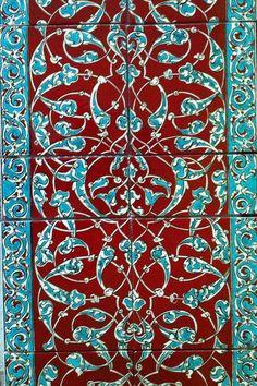 panel of ceramic wall tiles Glazed Ceramic Tile, Glazed Tiles, Ceramic Wall Tiles, Tile Art, Tile Murals, Turkish Tiles, Turkish Art, Islamic Tiles, Islamic Art