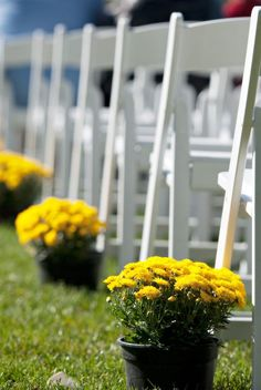 Simple Outdoor Wedding Ideas | Simple aisle decorations for an outdoor fall wedding - photo courtesy ...