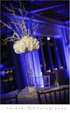 snowy branch centerpiece help needed :  wedding Winter Wedding Tall Centerpiece With Branches
