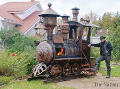 RYAZAN ODC - Locomotive-shaped grills are not exactly unheard of, but a team of Russian metal workers have taken it upon themselves to set a new standard by building a unique and awesome-looking Steampunk locomotive barbecue grill.